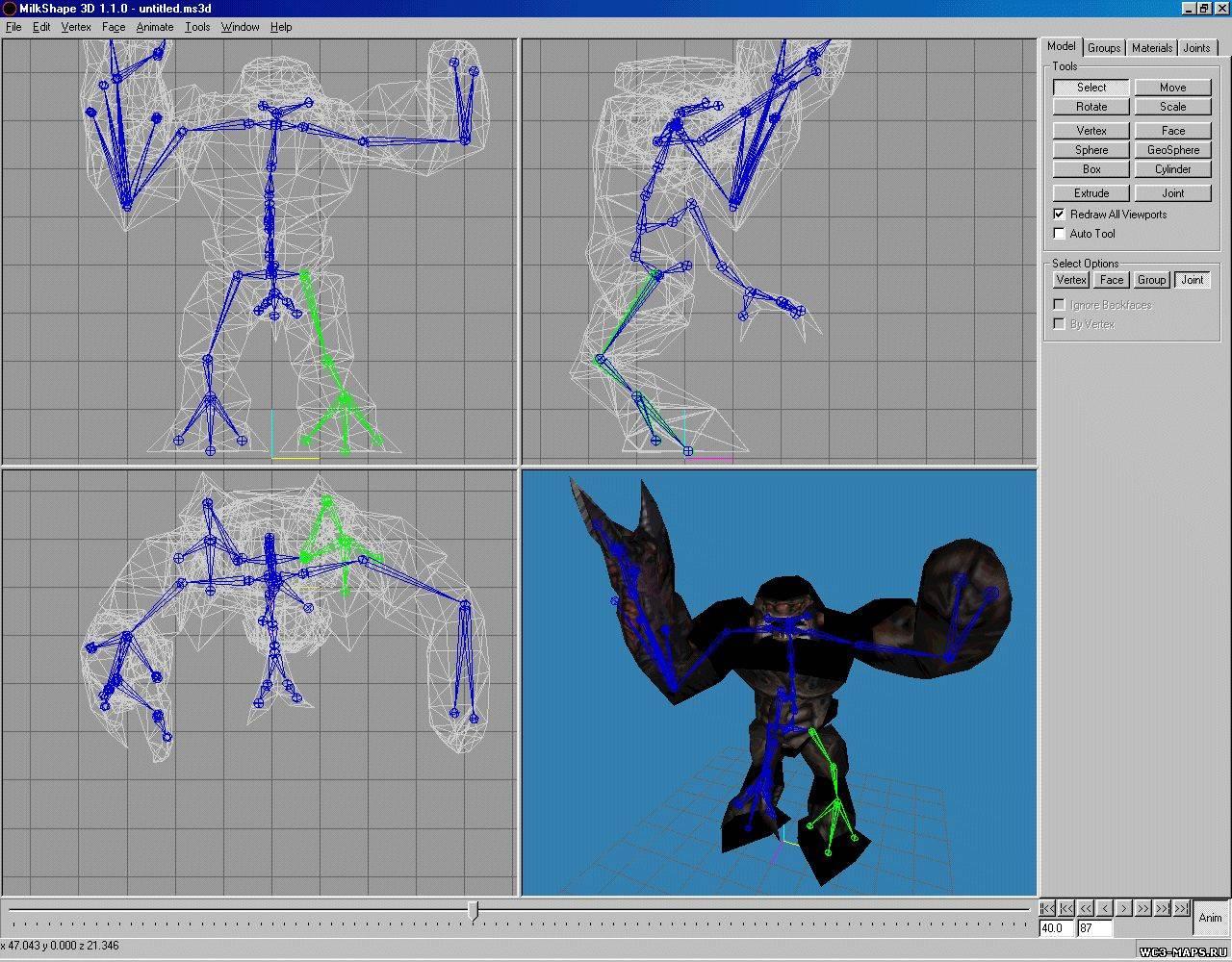 Плагин для MilkShape 3D, позволяющий экспортировать модели сразу в